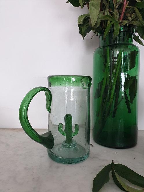 Pichet en verre soufflé cactus