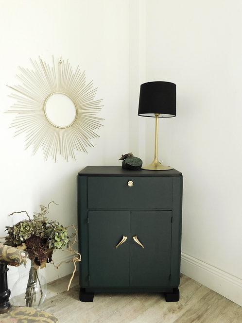 Petit meuble d'appoint Art Déco, revu en vert profond et noir