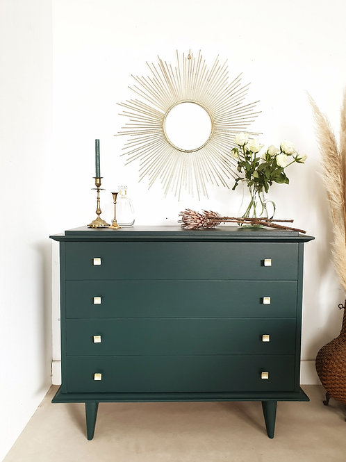 Commode vintage vert profond