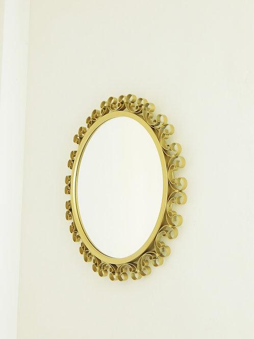 Miroir vintage rond en métal doré