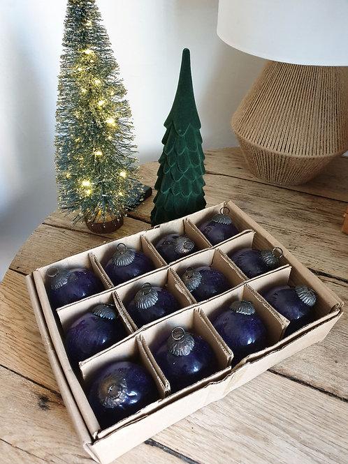 Anciennes boules de Noël artisanales de luxe