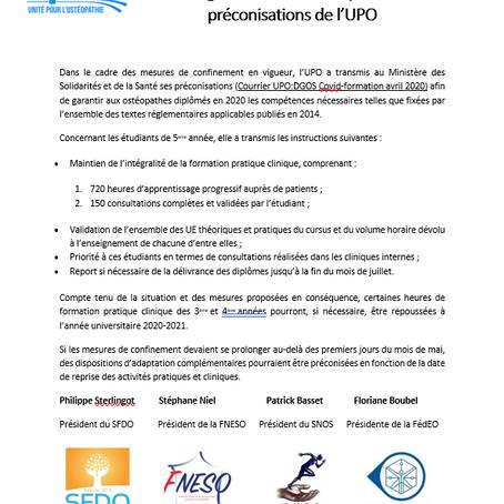 Etat d'urgence sanitaire, diplôme 2020 – les préconisations de l'UPO