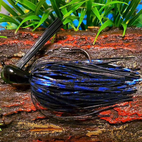 "1 oz Flipping Jig ""Black and Metallic Blue"""