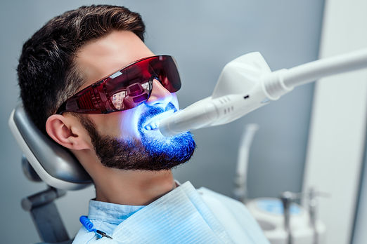 Close up view of man undergoing laser to