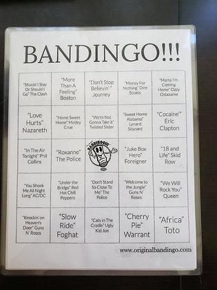 Emcee Johnny G's Original BANDINGO!!! Gameplay cards