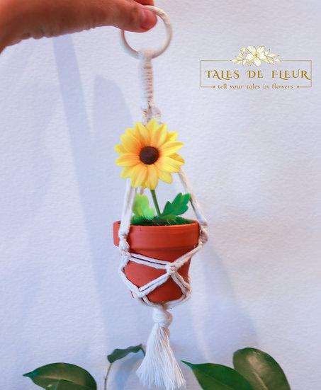 Mini macrame hanger - Sunflower
