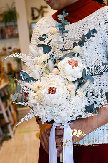 Bridal Bouquet with Handmade Peonies- from $ 180
