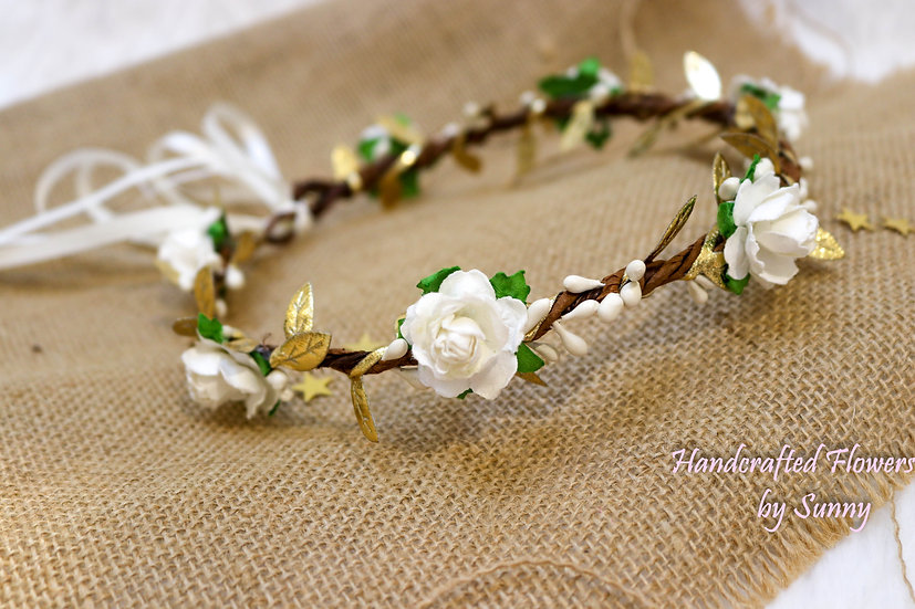 Flower Headpiece - Floral White