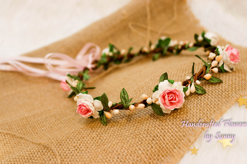 Flower Headpiece- White and pink