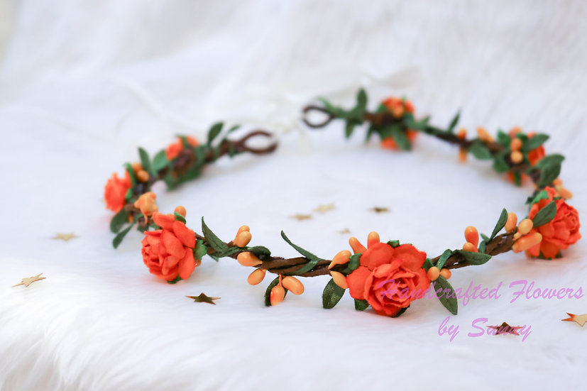 Flower Headpiece - Royal Orange