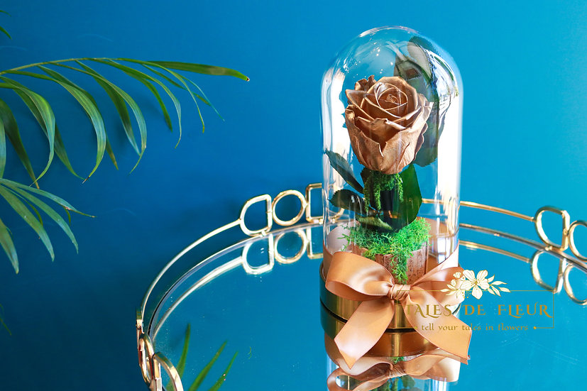 Preserved Rose in Glass Dome _ Metallic Gold