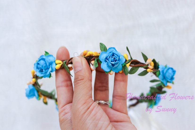 Flower Headpiece - Ocean Blue