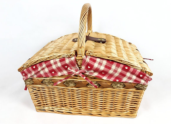 Wicker Picnic Basket - Red Hearts