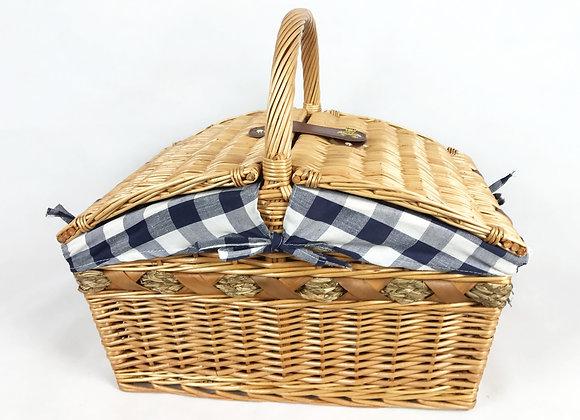 Wicker Picnic Basket - Blue Check