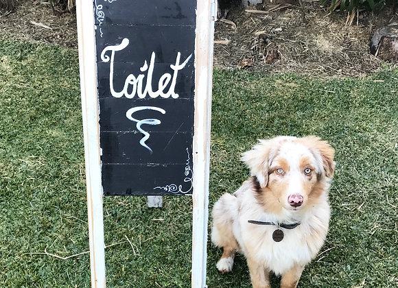 Rustic 'Toilet' Sign