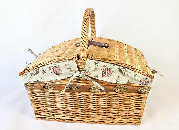 Wicker Picnic Basket - Pink Flower
