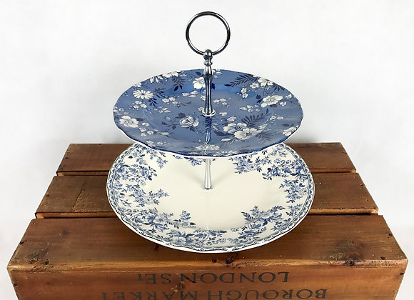 2 Tier Cake Stand - Blue