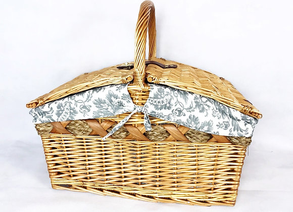 Wicker Picnic Basket - Grey Floral