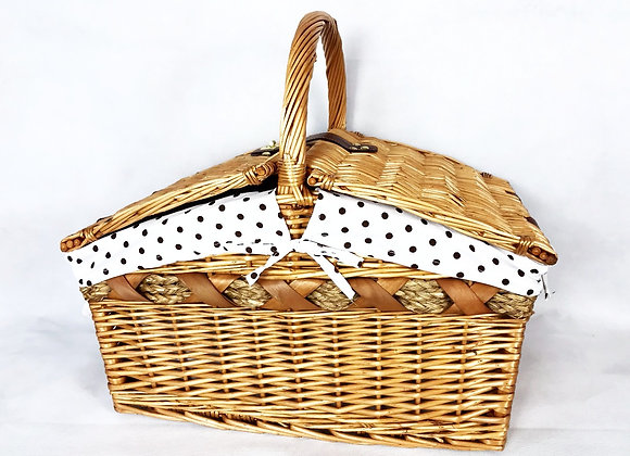 Wicker Picnic Basket - Brown Dots