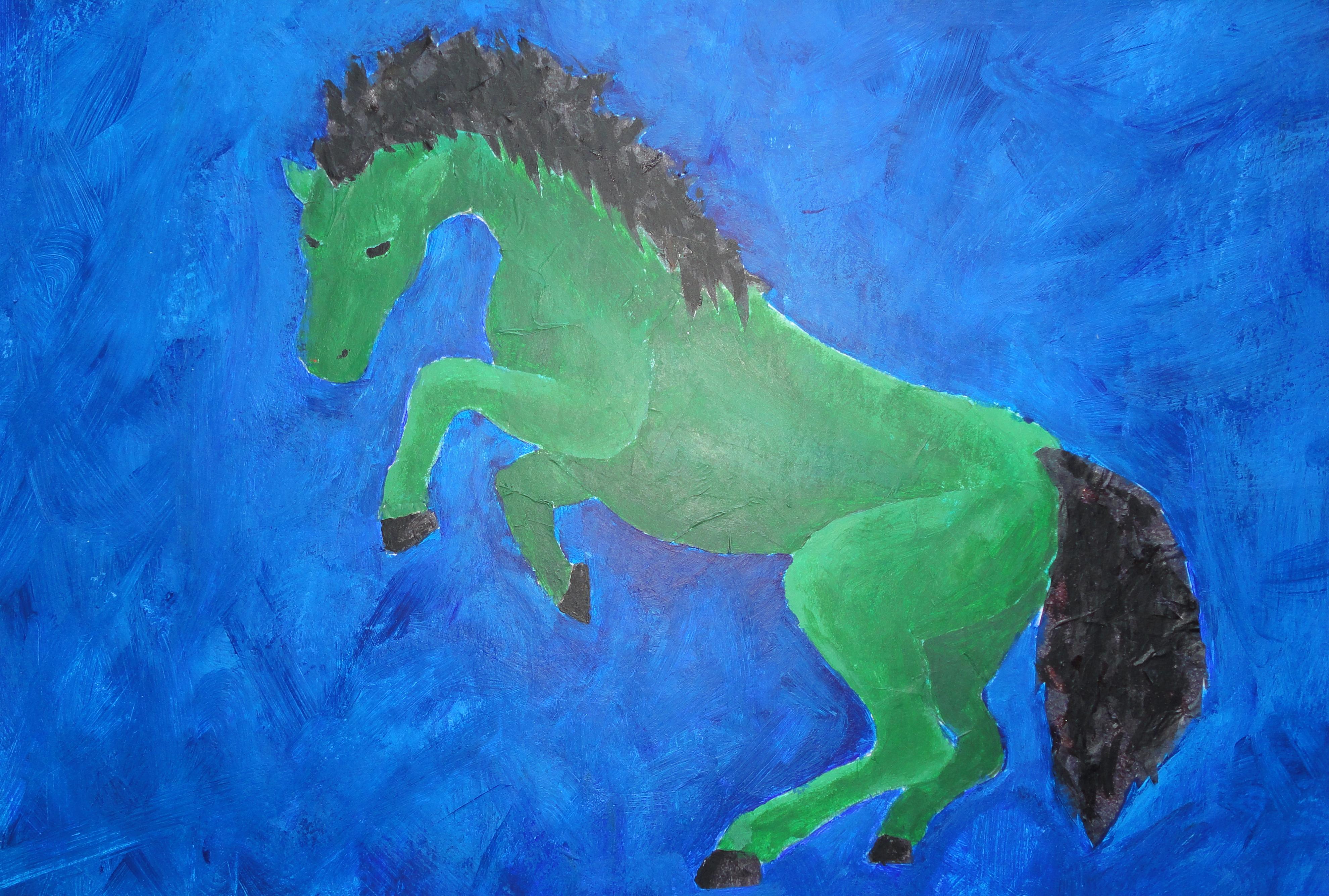green horse
