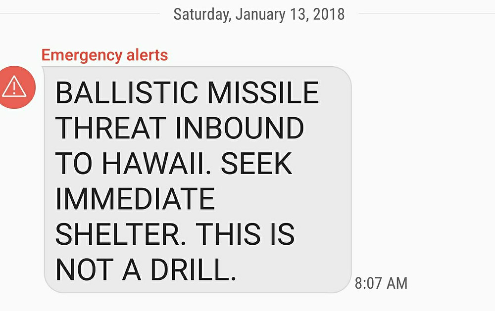 HawaiianCivil Defence text message 13th January