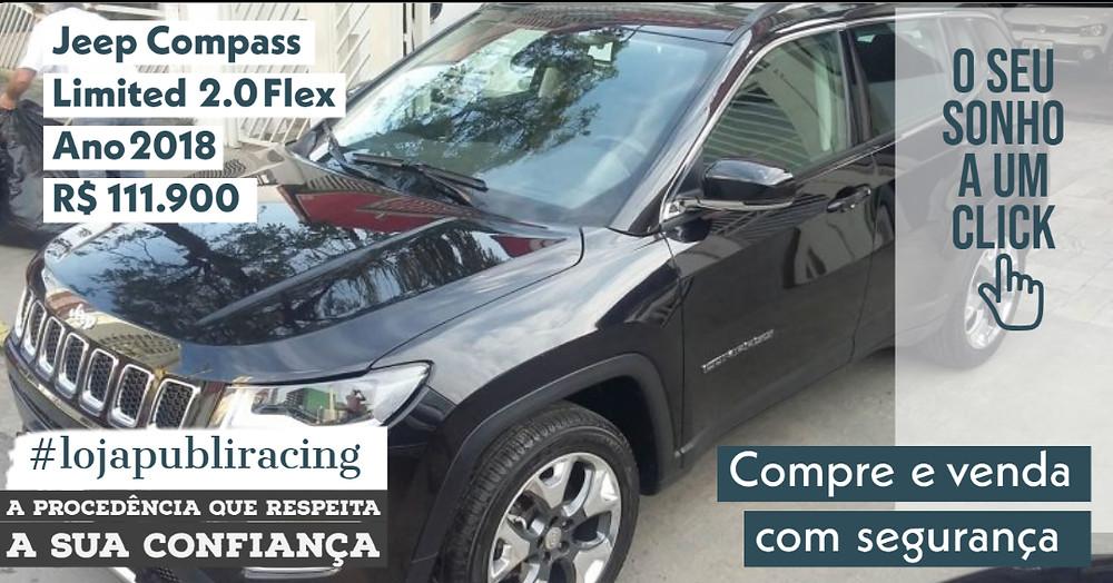 NA #LOJA PUBLIRACING - Jeep Compass Limited 2.0 Flex - Ano 2018
