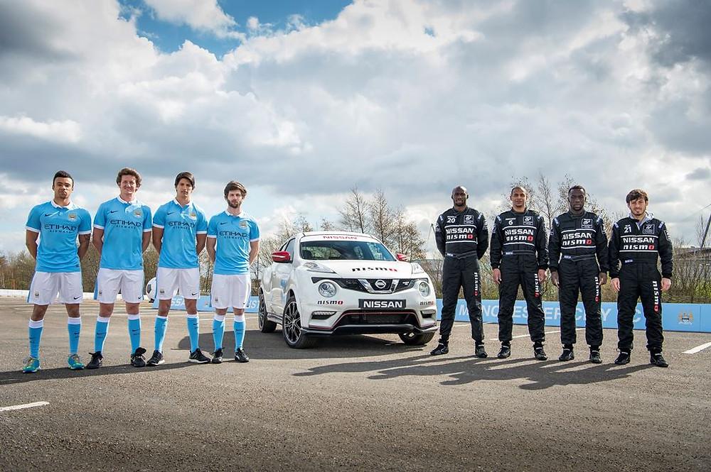Em ação da Nissan, astros do Manchester City trocam de função com pilotos da GT-Academy