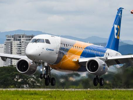 Primeiro jato E175-E2 da Embraer completa voo inaugural