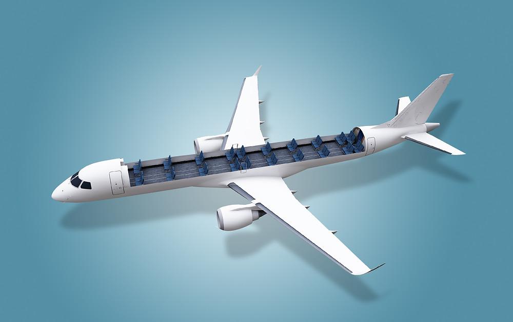 Aviação: Embraer desenvolve solução para transporte de carga em aeronaves comerciais