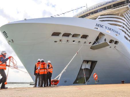 Turismo: MSC Virtuosa chega a Southampton, pronto para reiniciar cruzeiros no Reino Unido