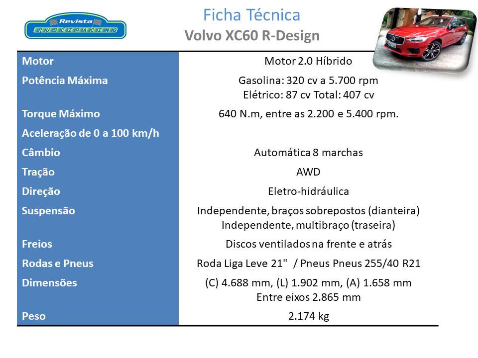 Ficha Técnica Volvo XC60 R-Design T8