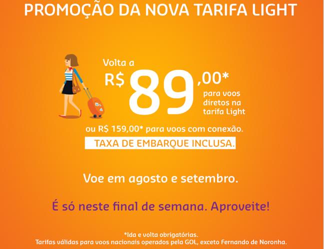 GOL faz promoção da nova Tarifa Light neste final de semana
