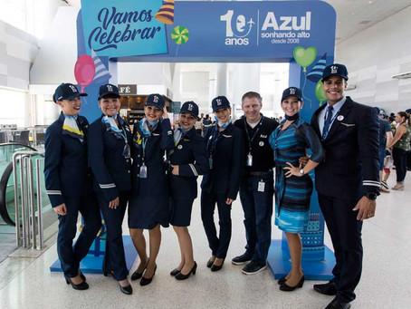 Azul completa 10 anos de operações no Brasil com números expressivos