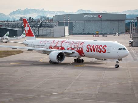 Decoração de primeiro Boeing 777 da Swiss homenageia funcionários.