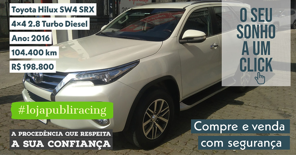 ACESSE #LOJAPUBLIRACING CLICANDO - Toyota SW4 Diesel - Ano 2016