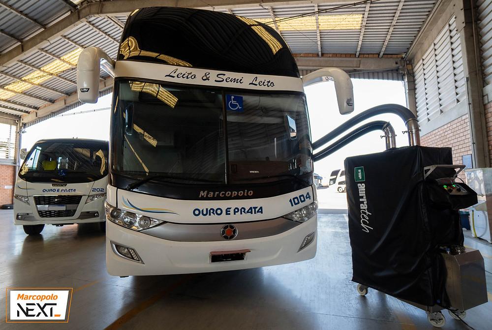Marcopolo apresenta sistema para a higienização de ônibus