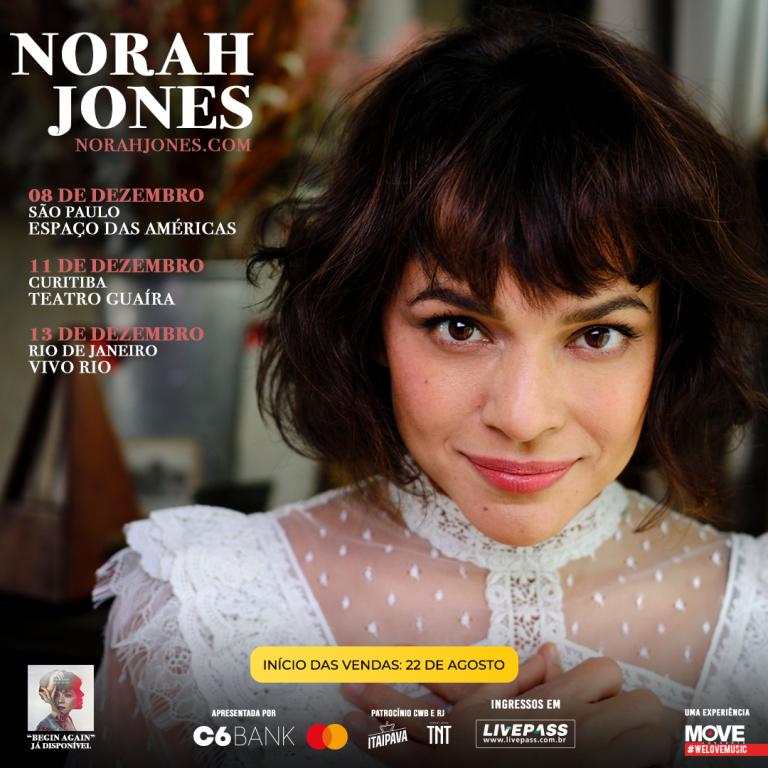 Norah Jones anuncia turnê pela América do Sul com shows em Curitiba, Rio de Janeiro e São Paulo