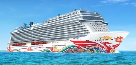 Arte chinesa no casco O primeiro navio construído pela Norwegian Cruise Line para o mercado da China, o Norwegian Joy terá seu casco pintado com obra de arte do  renomado artista chinês Tan Ping