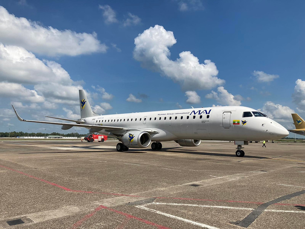 Aviação: Embraer E190 começa voos comerciais nas cores da Myanmar Airways International
