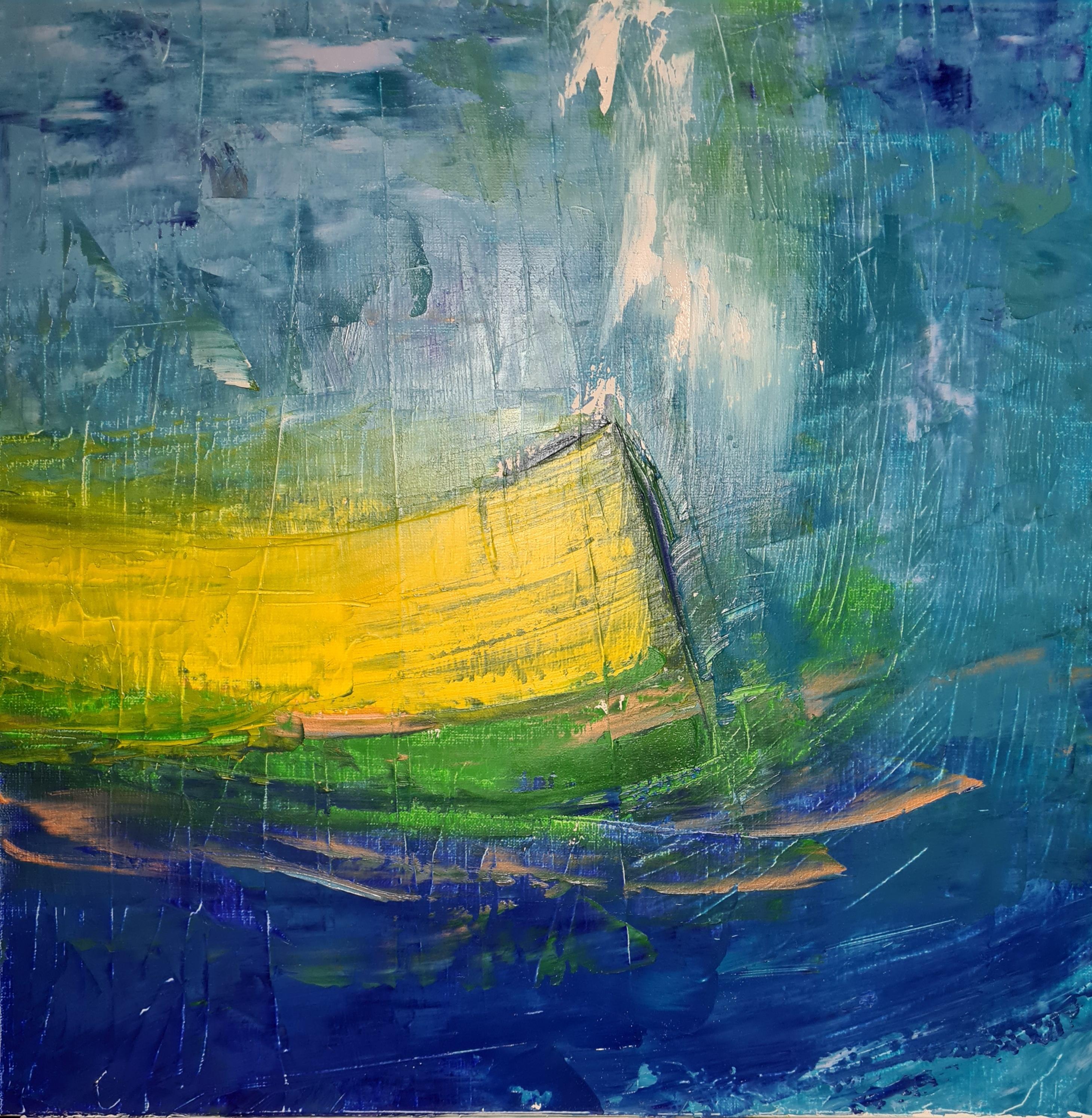 La barque jaune, 50x50cm