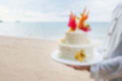 Beautiful cake for wedding ceremony on b
