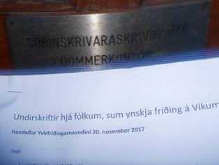 Undirskriftir handaðar Yvirfriðingarnevndini