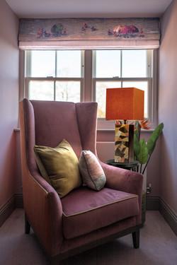 Winchester interior design bedroom bespoke roman blind