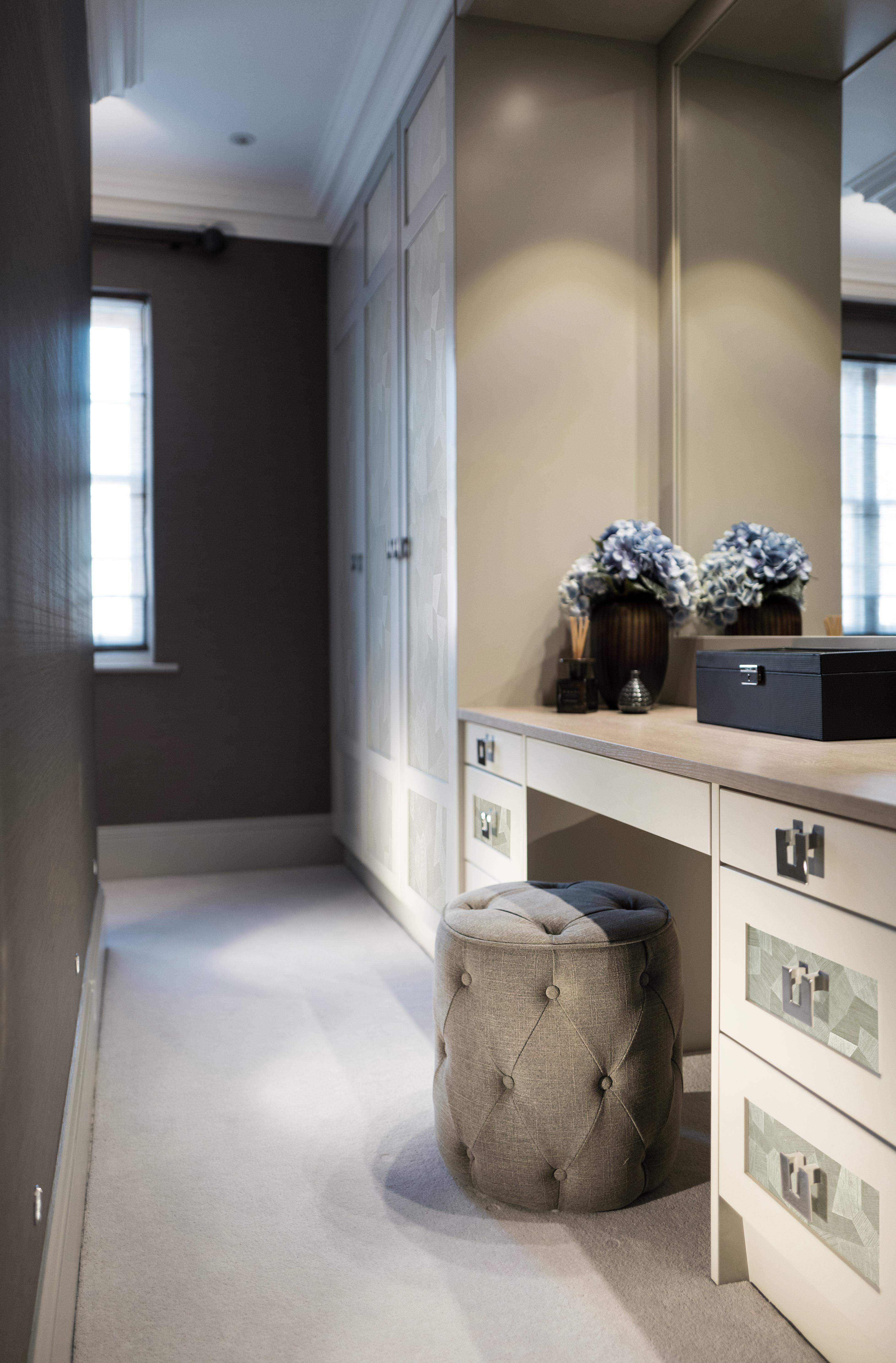 West London interior design walk in wardrobe