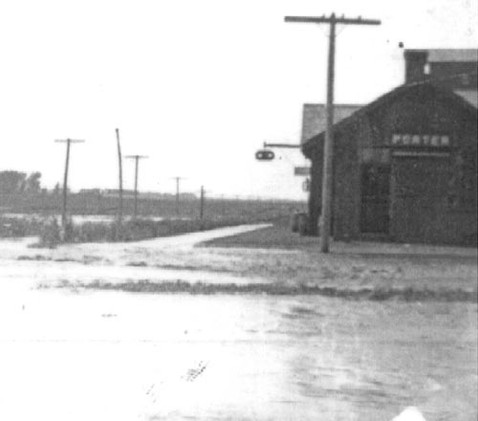 The Porter Depot, at the time located on Highway 68. The Property is now on the south side of Highway 68. The Depot can now be found on the 300th block of North Brook Avenue.