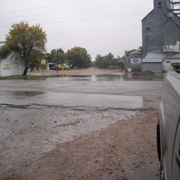 Water flowing over Highway 68 on west side of Porter