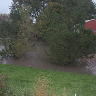 The old red barn on Highway 68 on Porter's east edge goes under water.
