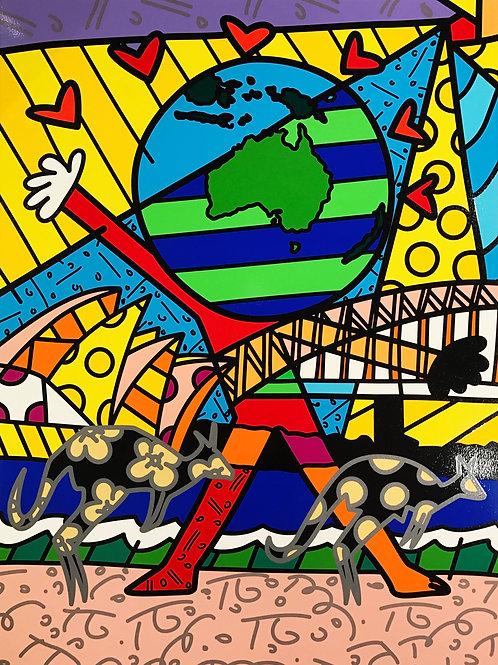 Romero Britto - AUSTRALIA - Original signed Limited Edition serigraph print