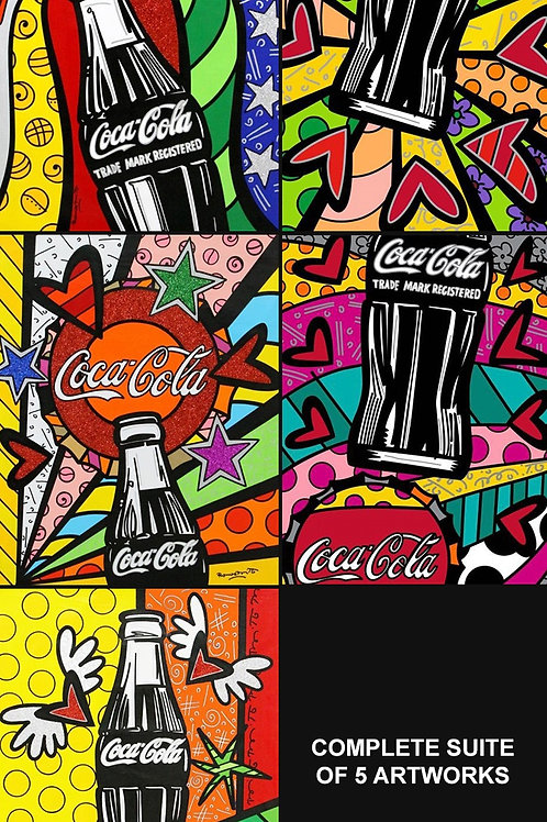 Romero Britto - COCA COLA SUITE - Set of 5 original signed serigraph prints