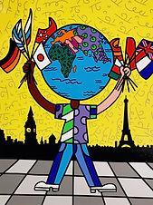 Romero Britto serigraph The Globe Generation - Eurasia